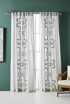 Slide View: 1: Embroidered Lacina Curtain