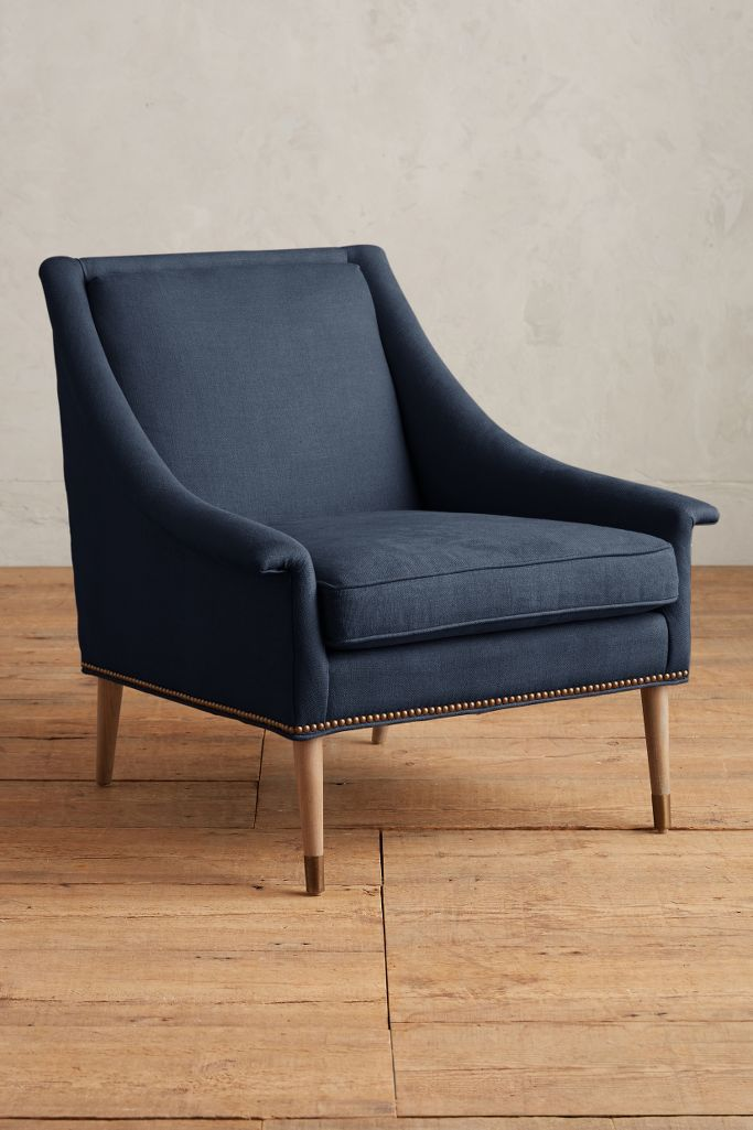 Blue Belgian linen Tillie Chair (Indigo)