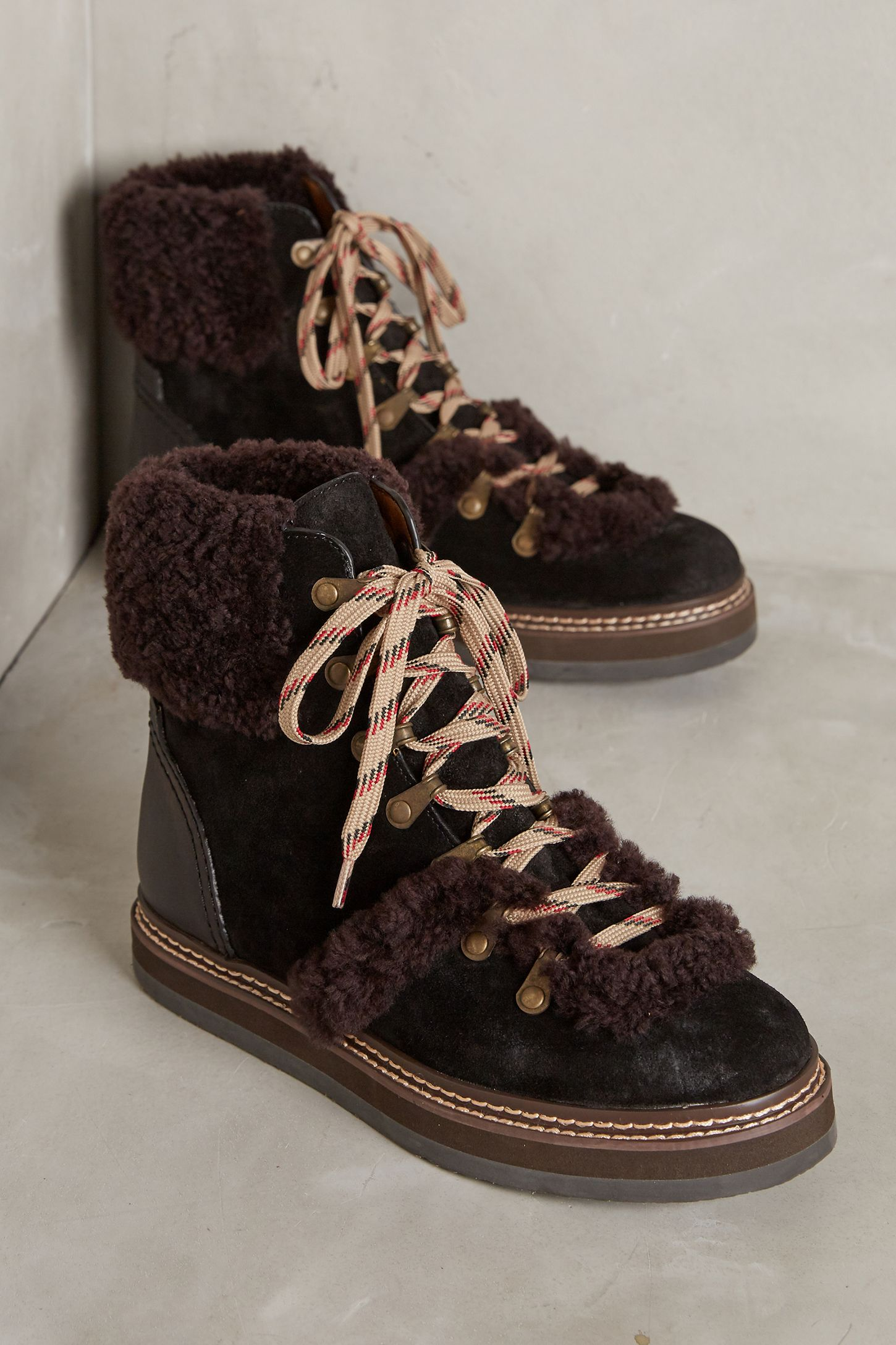 429050de992e See by Chloe Shearling Lace-Up Boots