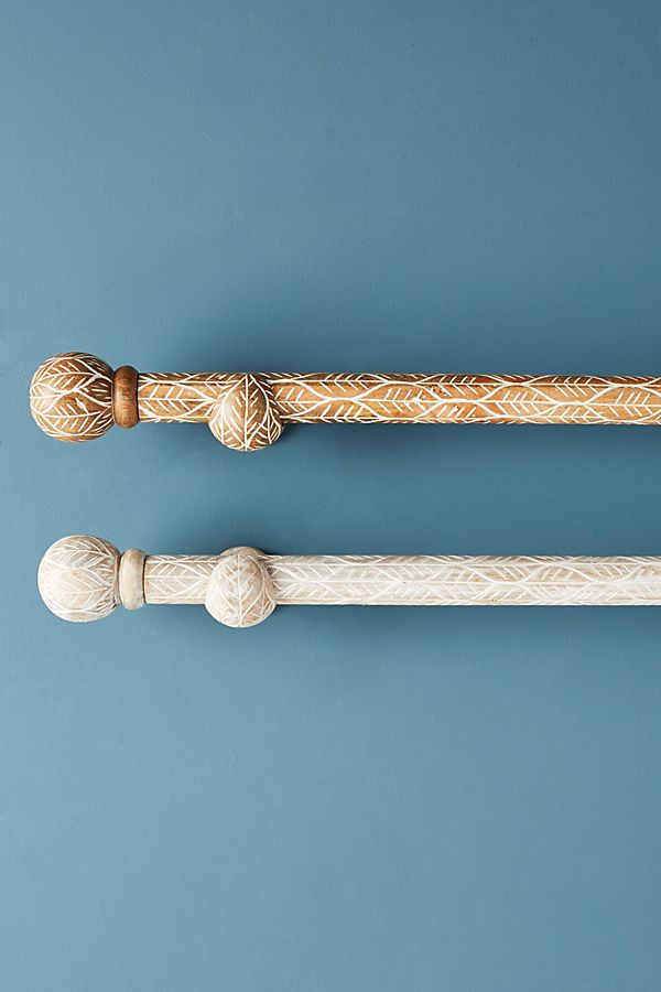 Slide View: 1: Twig-Etched Curtain Rod Set