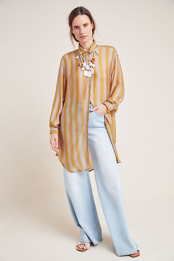 Slide View: 1: Hawaii Striped Silk Tunic