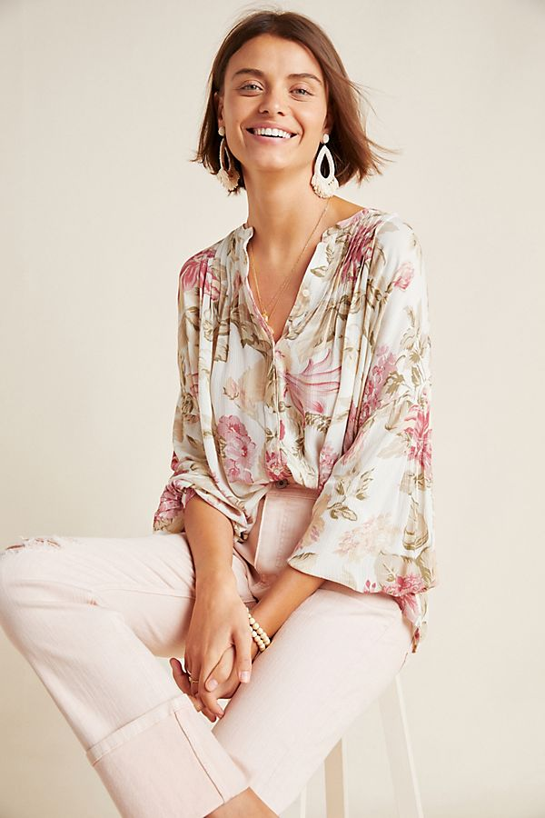 Slide View: 1: Frye x Anthropologie Elden Floral Peasant Blouse