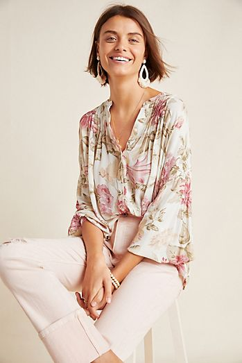 be8d0e13f238bf Frye x Anthropologie Elden Floral Peasant Blouse