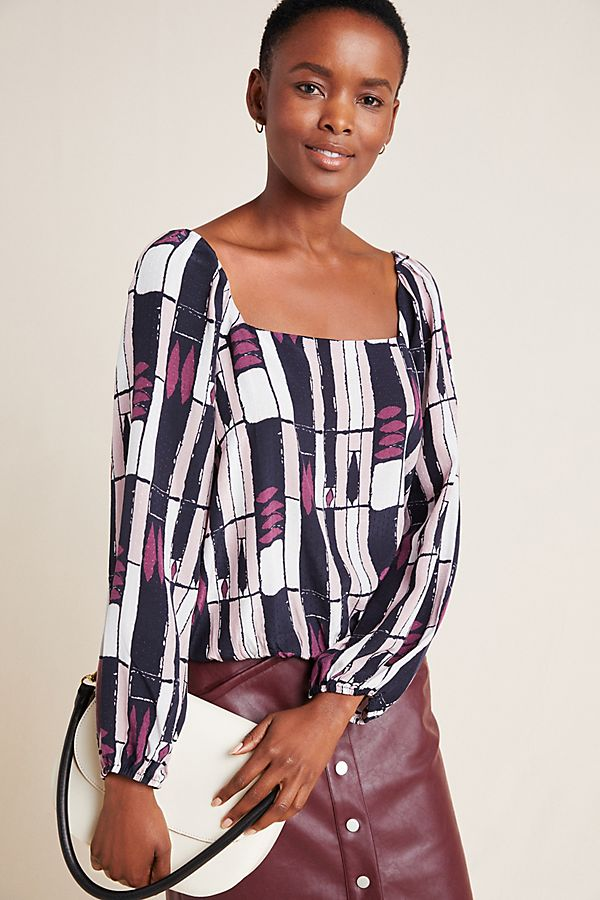 Slide View: 1: Eloise Abstract Blouse