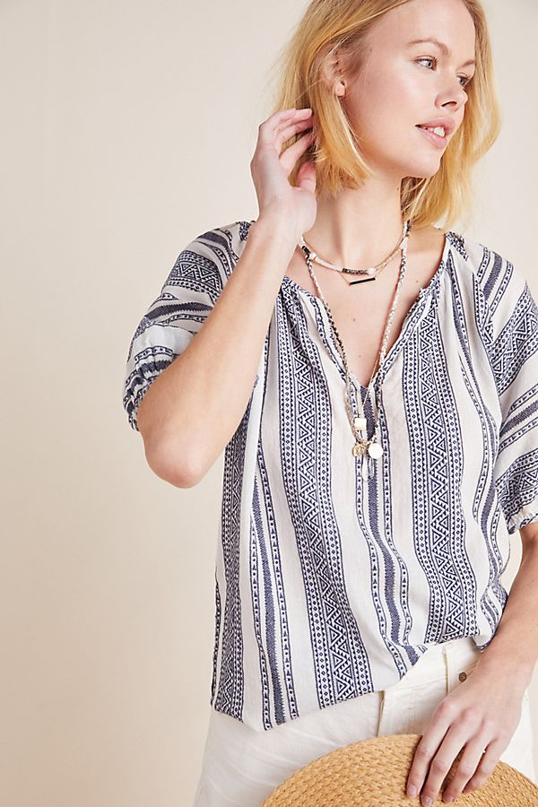 Slide View: 1: Halsey Yarn-Dyed Blouse