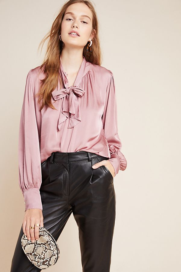 Slide View: 1: Alanna Tie-Neck Blouse