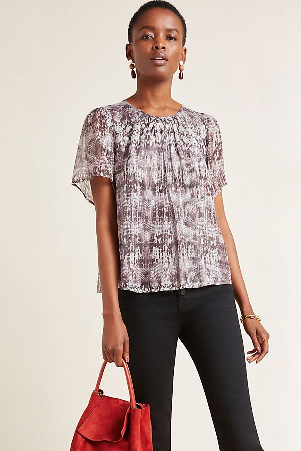 Slide View: 1: Arianna Snake-Printed Blouse