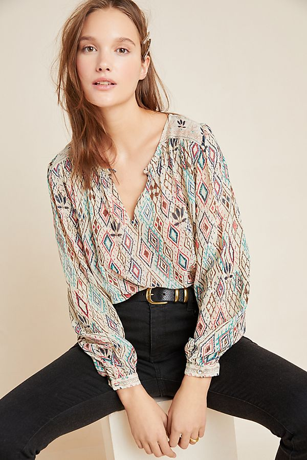 Slide View: 1: Brinn Peasant Blouse
