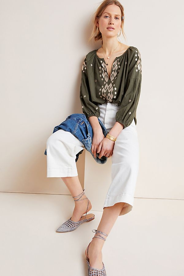 Slide View: 1: Klara Embroidered Peasant Blouse