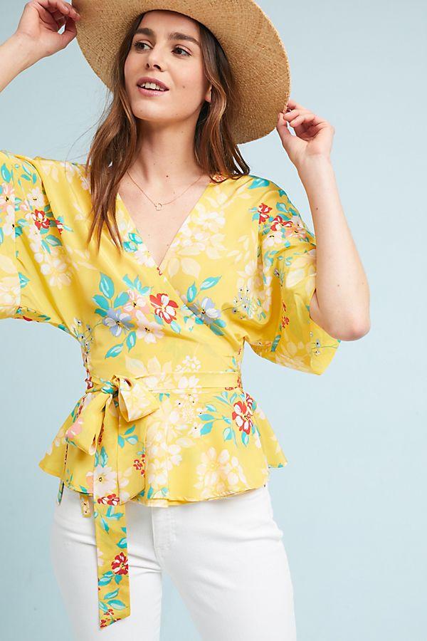d5c0a6ac9fd99 Yumi Kim Floral Wrap Blouse