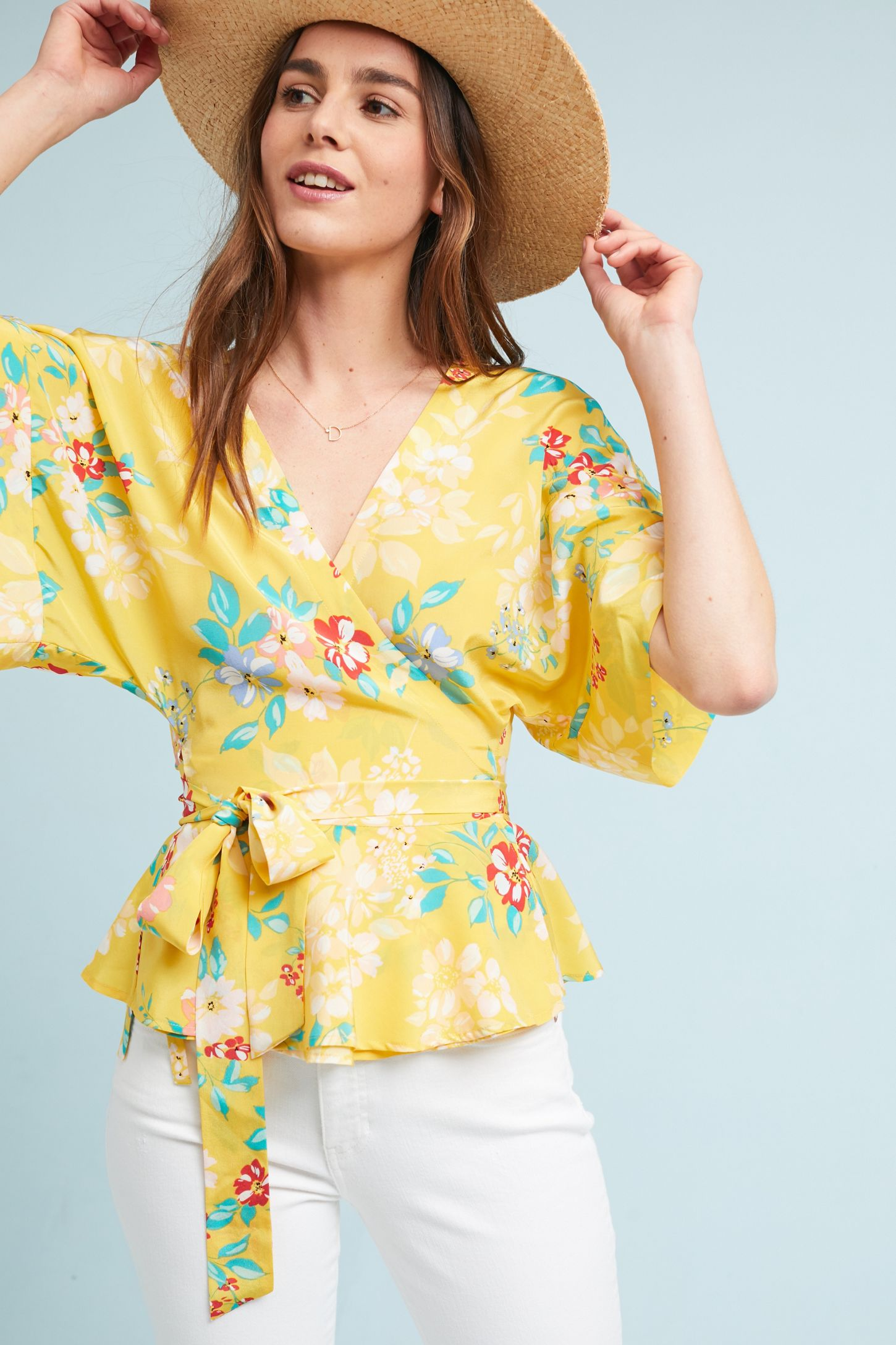 698437619a8 Yumi Kim Floral Wrap Blouse