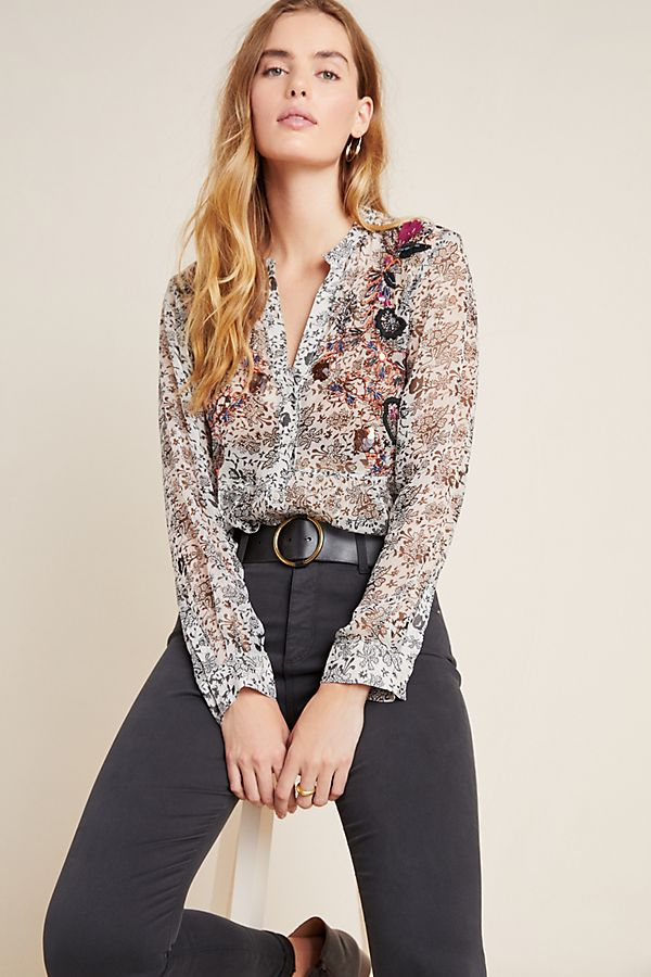 Slide View: 1: Ronan Embroidered Babydoll Blouse