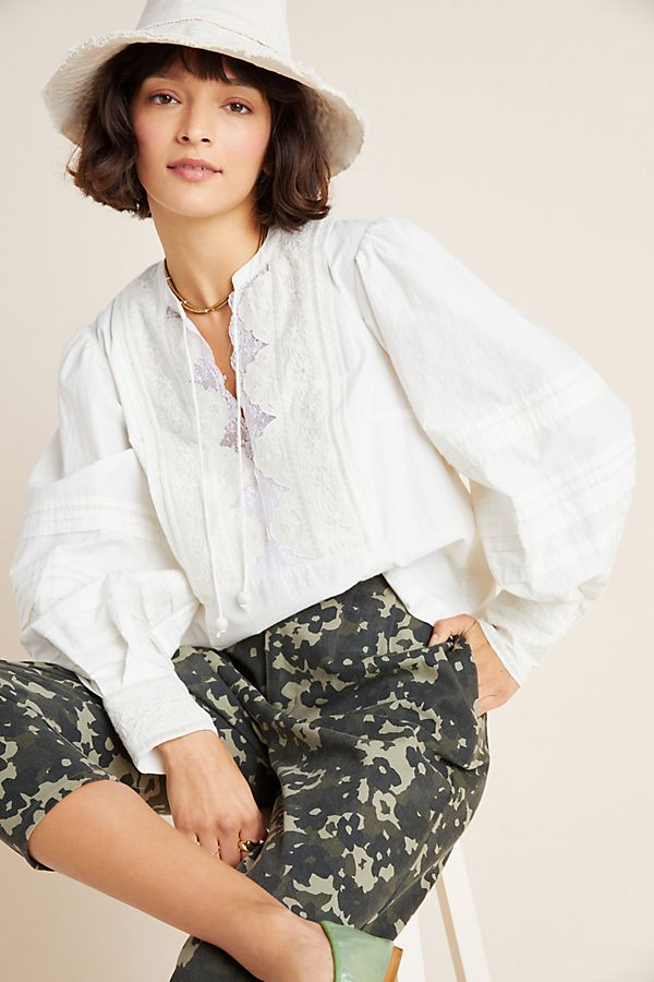 Slide View: 1: Delilah Pleated Lace Peasant Blouse