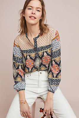Slide View: 1: Mosaic Silk Blouse