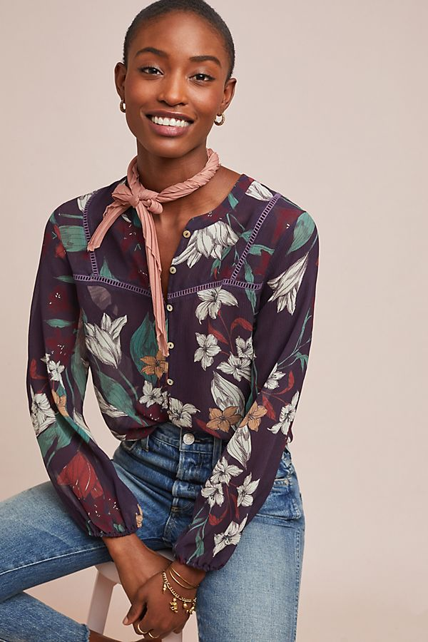 a6bfcfe37 Theodora Silk Buttondown | Anthropologie
