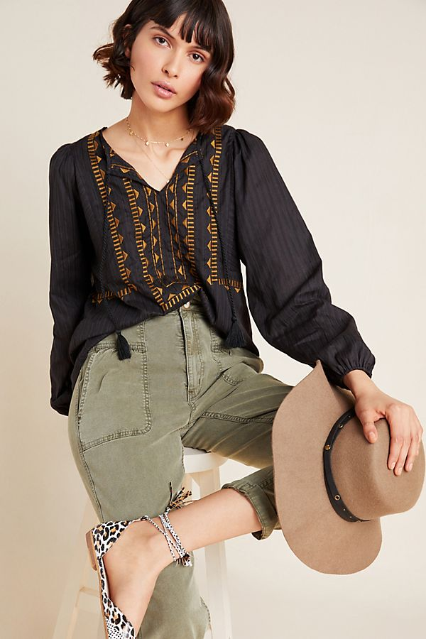 Slide View: 1: Dolan Left Coast Deena Embroidered Peasant Blouse