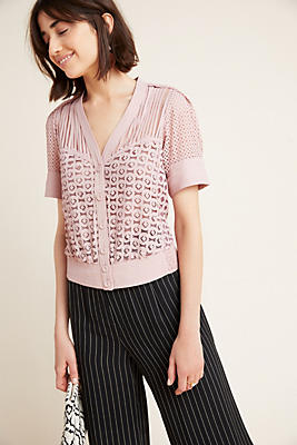 Slide View: 1: Byron Lars Laser-Cut Blouse