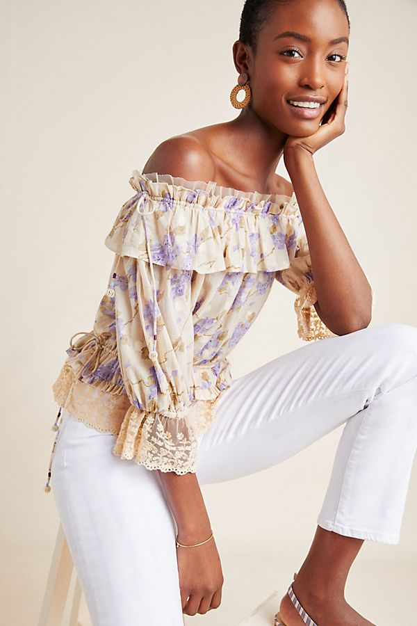 5ffd835cf6ca2 Slide View  1  Delila Ruffled Off-The-Shoulder Blouse
