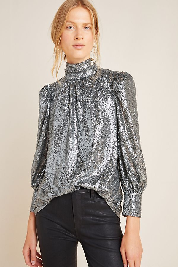 Slide View: 1: Luna Sequined Blouse