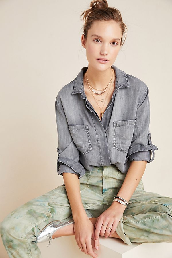 Slide View: 1: Cloth & Stone Washed Chambray Buttondown