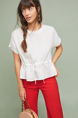 Slide View: 1: Cloth & Stone Waisted Linen Top