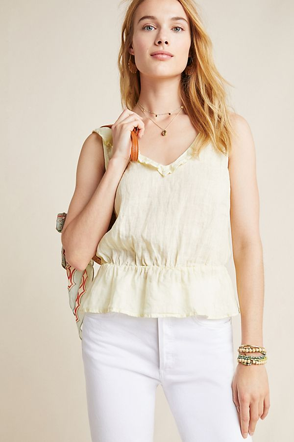 Slide View: 1: Cloth & Stone Linen Peplum Blouse