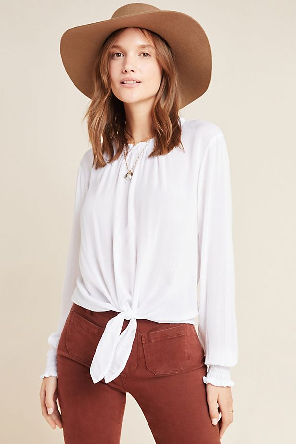 Slide View: 1: Cloth & Stone Tie-Front Blouse
