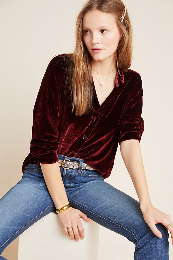 Slide View: 1: Cloth & Stone Sinead Velvet Buttondown