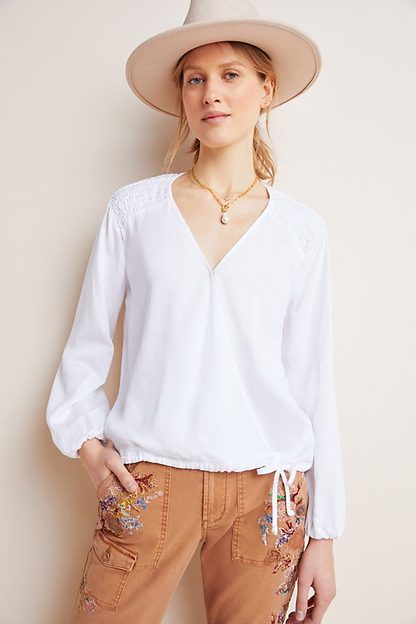 Slide View: 4: Cloth & Stone Smocked Surplice Blouse