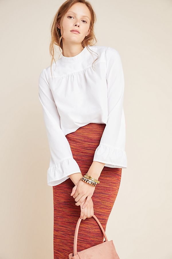 Slide View: 1: Aja Poplin Mock Neck Blouse