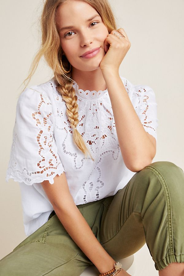 Slide View: 1: Linen Eyelet Blouse