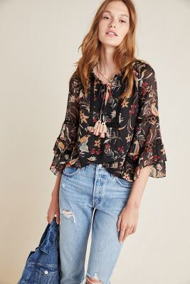 Odette Floral Peasant Blouse by Maeve