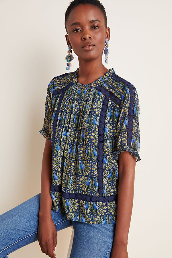 Slide View: 1: Tina Embroidered Lace Blouse
