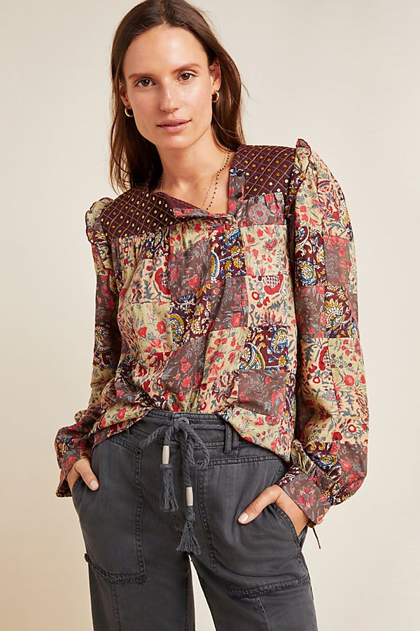 Slide View: 1: Patsie Embroidered Patchwork Blouse