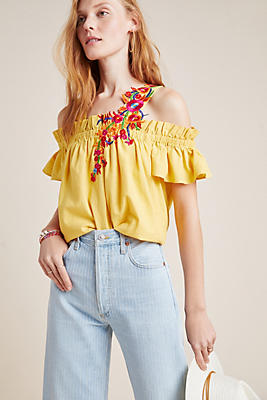 Selena Embroidered Open Shoulder Blouse by Mynah Designs