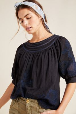 Salma Embroidered Peasant Blouse by Anthropologie