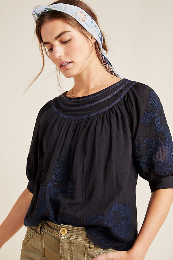 Slide View: 1: Salma Embroidered Peasant Blouse