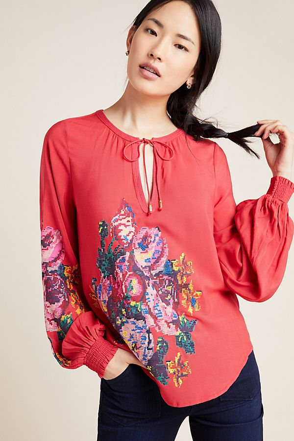 Slide View: 1: Monica Embroidered Peasant Blouse