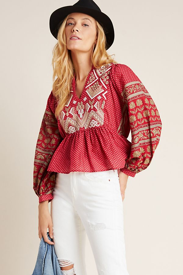 Slide View: 1: Keira Embroidered Peplum Blouse
