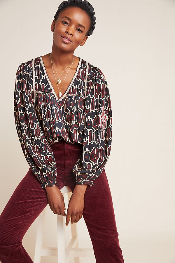 Slide View: 1: Veda Embroidered Blouse