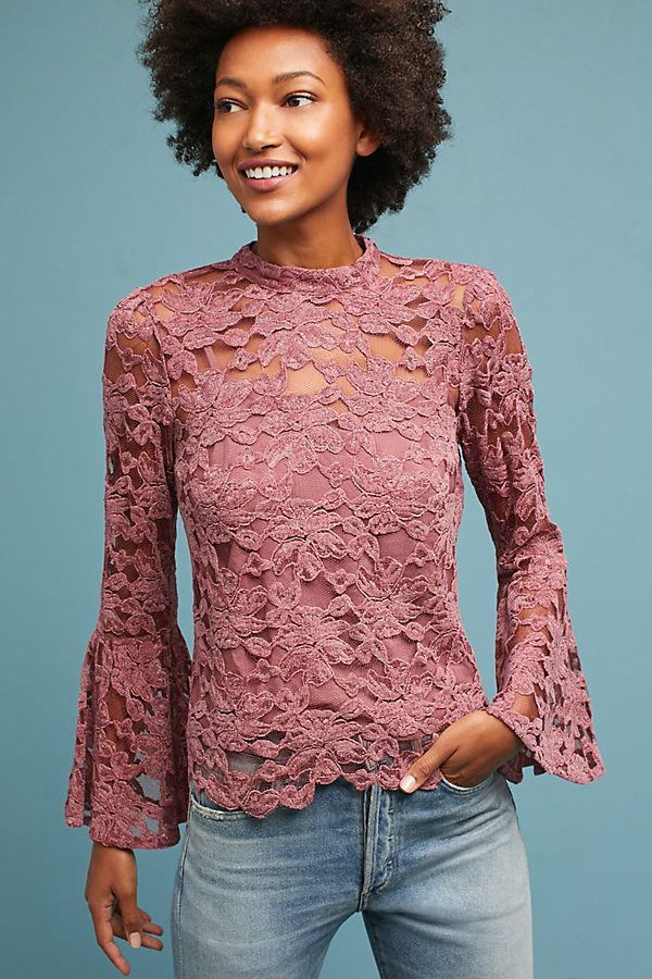 1a95fef14df93 Bell-Sleeved Lacework Top