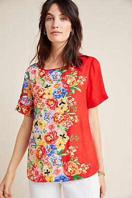 Slide View: 1: Embroidered Blossom Top