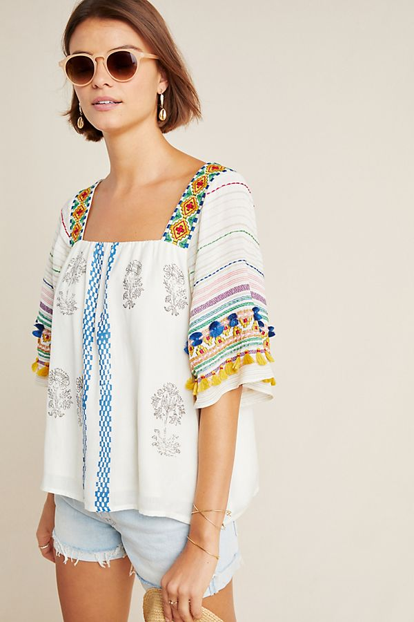 Slide View: 1: Kiera Embroidered Blouse
