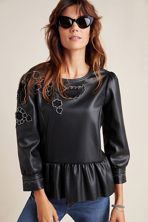 Slide View: 1: Sheena Faux Leather Peplum Blouse