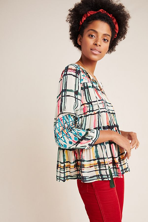 Slide View: 1: Vanessa Tiered Peasant Blouse
