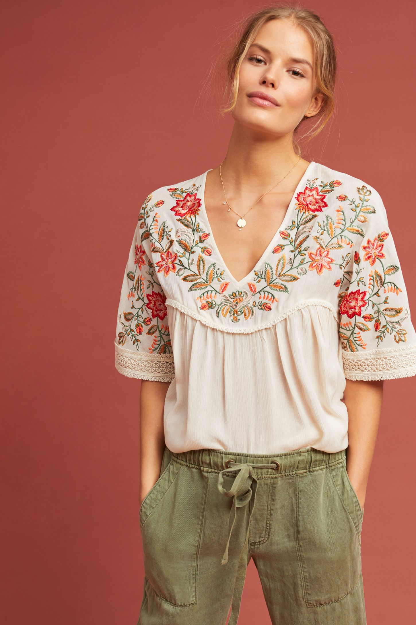 58abee646e8b40 Jumel Embroidered Blouse