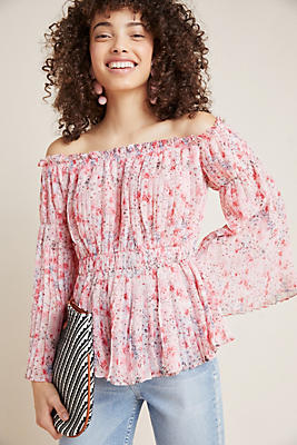 Slide View: 1: Pleated Off-The-Shoulder Blouse