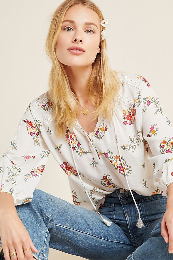 Slide View: 1: Augustana Floral Peasant Blouse