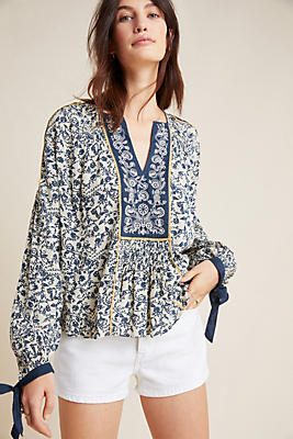Janice Embroidered Peasant Top by Seen Worn Kept