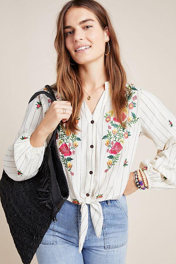 Slide View: 1: Promenade Embroidered Blouse
